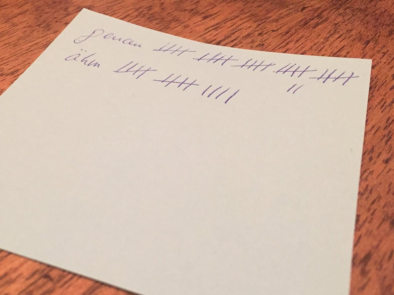 Strichliste auf einem Haftnotizzettel
