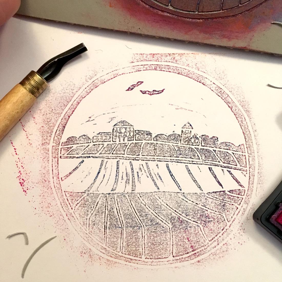 Druck eines Linolschnittes von Schloss Johannisberg im Rheingau